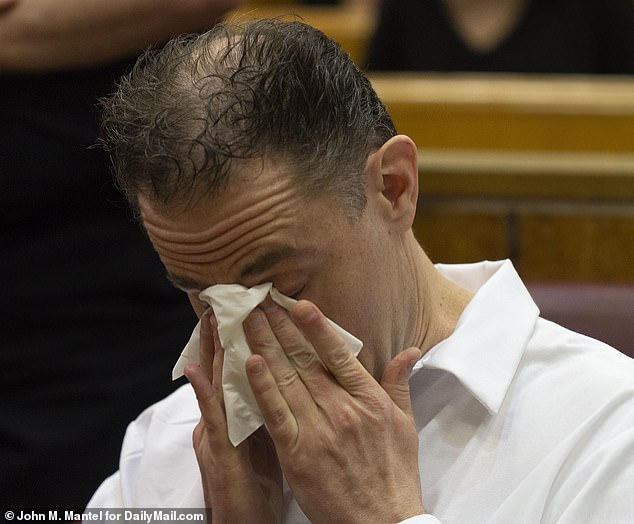 Crocodile tears: Convicted wife killer Roderick Covlin, 46, cries at his sentencing hearing on Wednesday