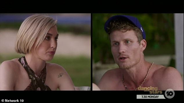 Tense: Alex, 27, accused her Perth-based ex Richie, 33, of not flying out to Melbourne to support her during a 'massive' moment in their lives, in a tense confrontation in Wednesday's episode