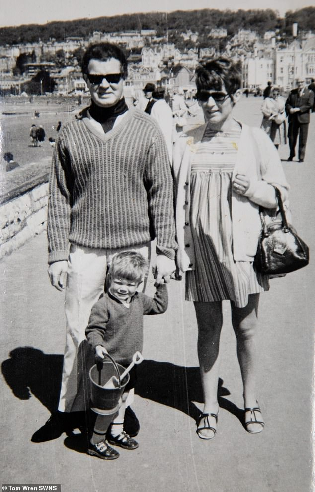 In 2011,Mr Garrity was diagnosed with Parkinson's and Lewy body dementia. Pictured, with his wife and one of their children in 1971.