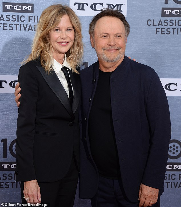 Now: The movie's leads Meg Ryan, 57, and Billy Crystal, 71, both wore matching black ensembles for their red carpet reunion at the TCL Chinese Theater in Hollywood