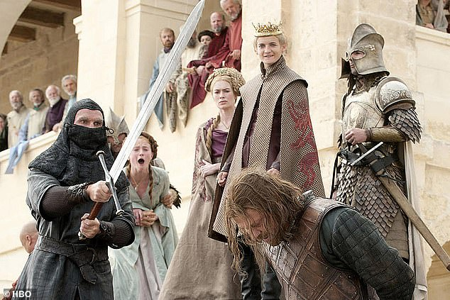 The sadistic young King Joffrey has Lord Eddard 'Ned' Stark beheaded. When first broadcast, this scene shocked viewers who, even as the executioner stepped up and raised his sword, expected a reprieve or a rescue