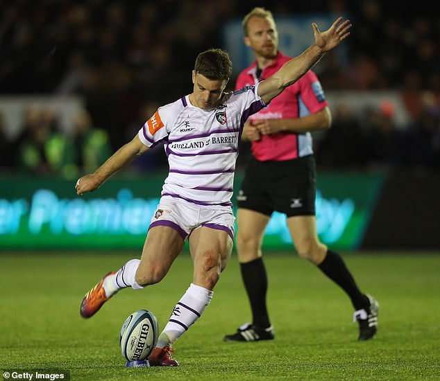 Leicester captain George Ford kicks a conversion against Newcastle on Friday evening