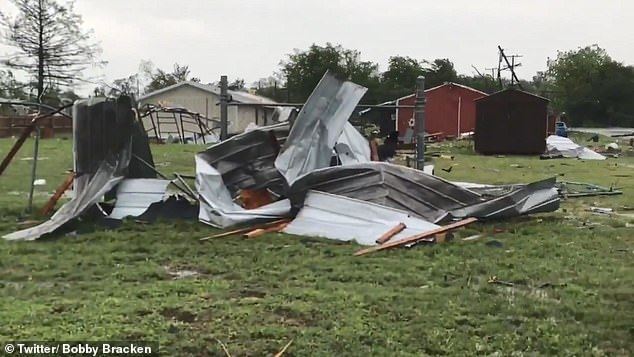 The powerful tornado ripped through outbuilding and mobile homes, destroying several