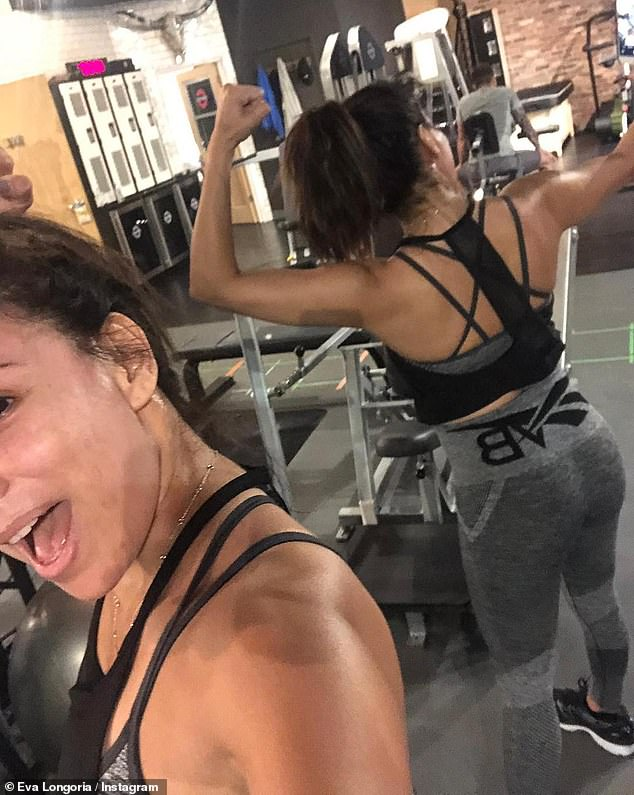 Fit and fab: Life is not all relaxation for the Desperate Housewives icon, who on Saturday posted an Instagram photo of herself working up a sweat at the gym