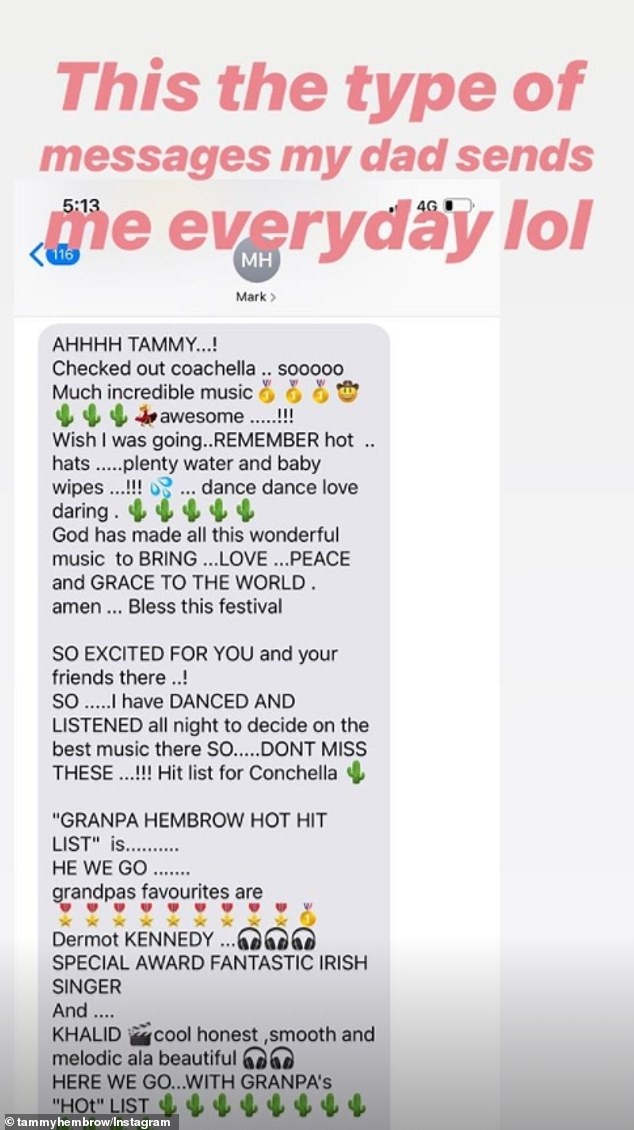 Stay hydrated!On Friday, Tammy shared a lengthy text message her father Mark Hembrow had sent her, telling her to drink plenty of water at the festival