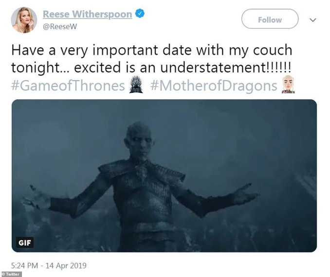 Reactions are coming: Reese Witherspoon lead the charge on Game Of Thrones fan reactions on Sunday night