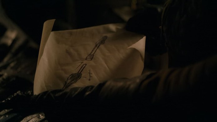 Arya's weapon:She shows Gendry the drawing of a weapon she wants him to make, as she flirts a bit with Gendry