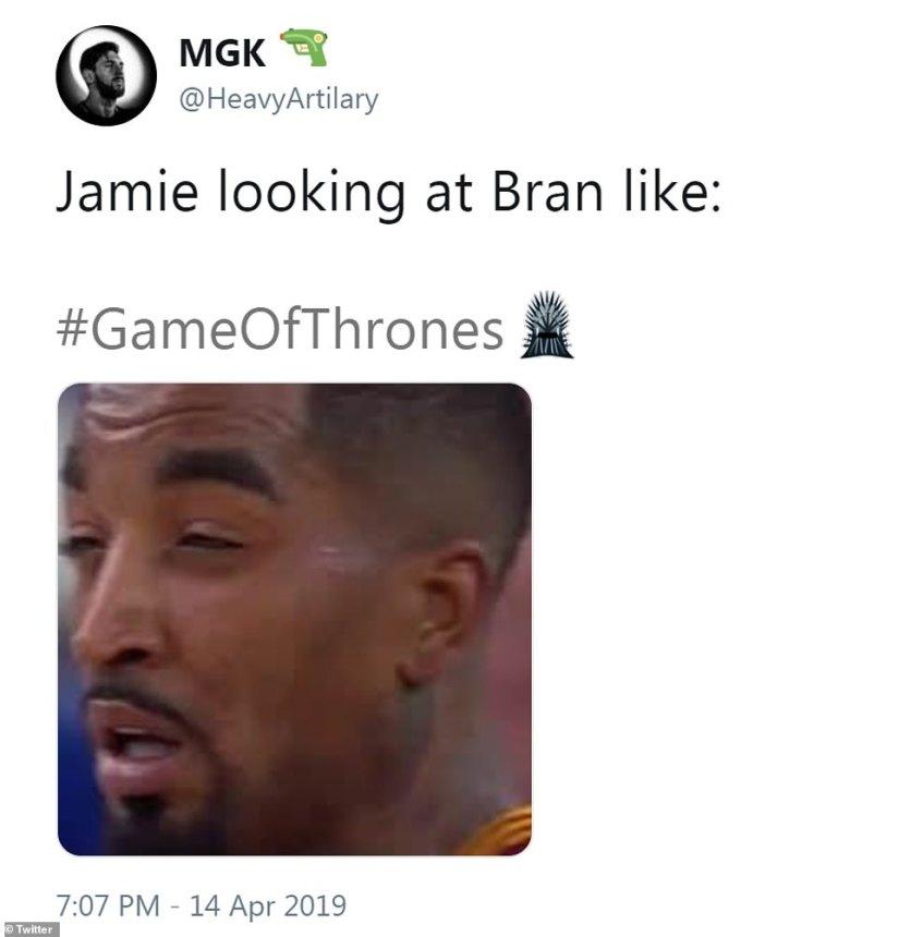 Haha: @HeavyArtilary mocked the way Jaime eyed Bran from across the courtyard