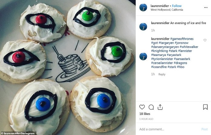 Eyes open: Eye cookies like the funeral eye rocks were served up at another party