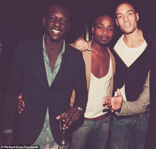 Worried friends of Mr Arow (pictured left with friends inside a different nightclub) posted about him on social media on Monday afternoon