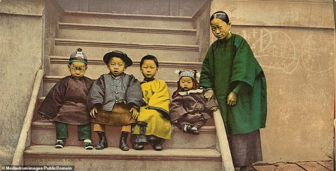 A Chinese family living in the Wild West. Many of the Chinese population immigrants who went to the US to work on building the groundbreaking railroads connecting the US East and West coasts. The railroads opened up the West for settlement and economic development as white settlers poured to the region