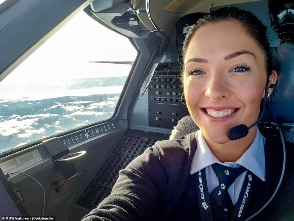 Emilie flies a Dash 8-Q400 plane and has anywhere between 12 and 16 flights each week. She works for Canadian airline Westjet