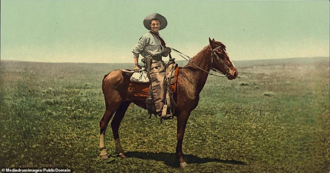 A cowboy brought to life in color by these photochroms. The life of a cattleman has been glamorized over the years with the reality very different from the one portrayed in films and TV. The Colorado Gold Rush is often referred to as the 'Pikes Peak Gold Rush' and lead to the creation of the Colorado Territory in 1861