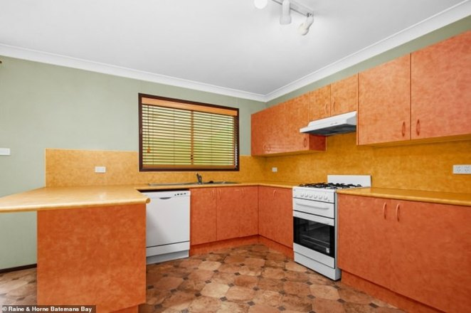 Before! The star stripped the kitchen of its former fixtures, swapping the orange design for an all white look and vibrant yellow countertops and tiles