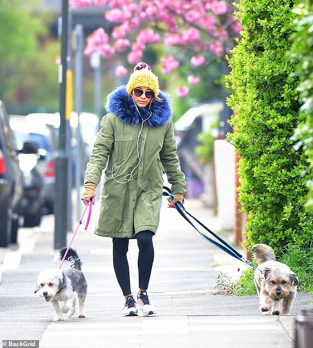 Woman's best friend: The professional dancer, who divorced her Strictly Come Dancing co-star Kevin in 2018 after three years of marriage, was spotted walking her pet dogs