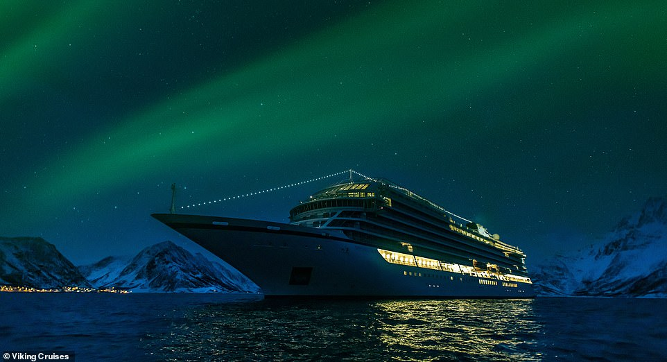Passengers on board the Viking Sky soak up the magic of the Northern Lights while cruising around northern Norway. The natural phenomenon is best seen in the areabetween the months October and March