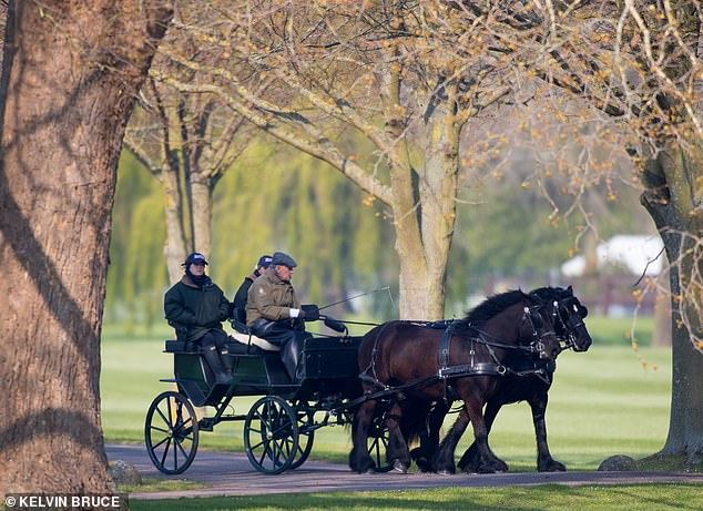 The Duke of Edinburgh looked relaxed as he made his way through the grounds on his beloved horse-drawn carriage