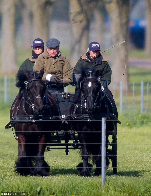Prince Philip was wrapped up warm in a khaki green jacket complete with flat cap and gloves as he headed through the grounds
