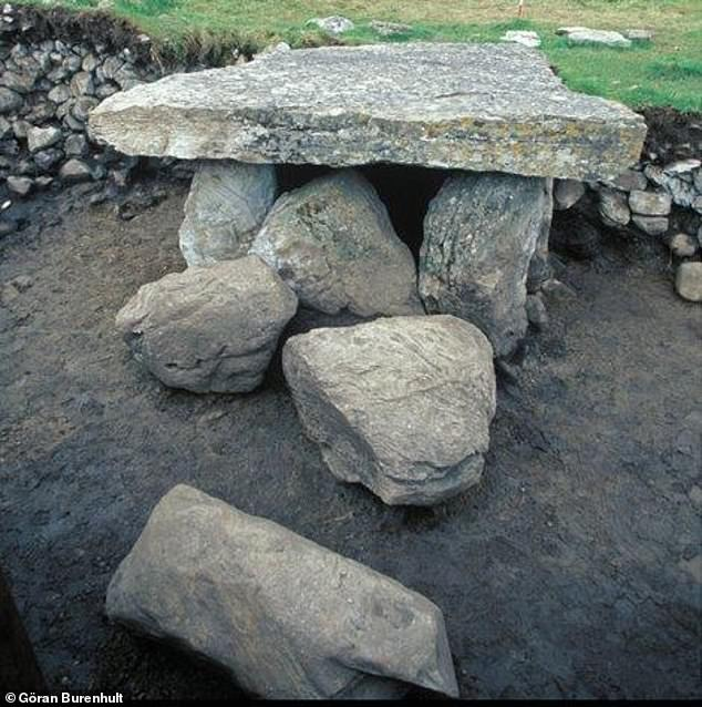 More than ten generations of the same family were buried in giant Stone Age tombs, reveals a new study.Scientists analysed human remains from tombs in Scotland, Ireland and on the Swedish island of Gotland. This image shows a megalithic site in the UK