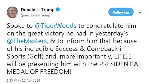 Präsident Trump wird Tiger Woods die Präsidentenmedaille der Freiheit wegen seines Erfolges und seines Comebacks im Sport und im Leben verleihen