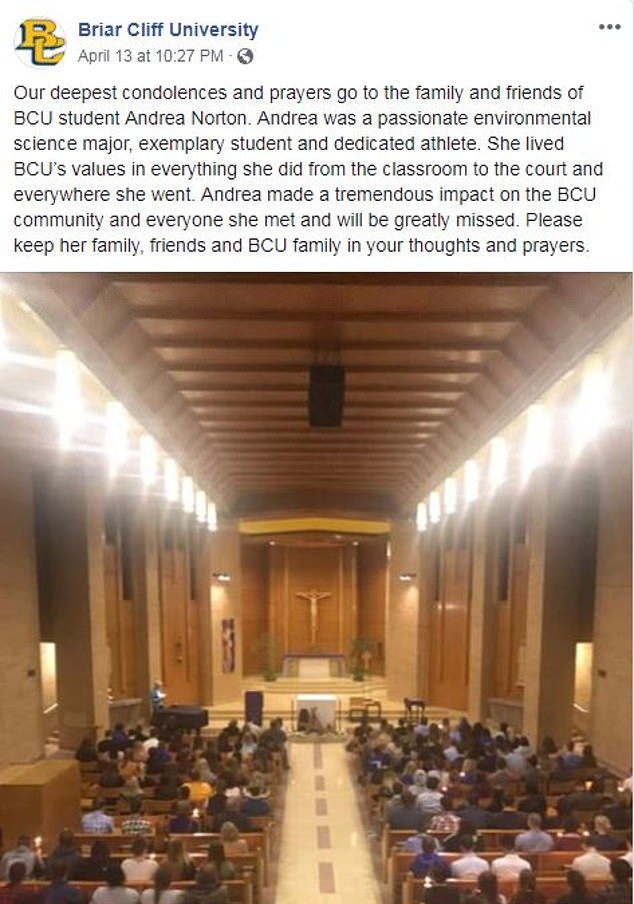 Norton was an environmental science major and in her third year at Briar University in Iowa. The school held a memorial for her on Saturday following news of her death