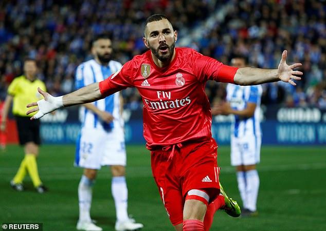 Karim Benzema celebrates after levelling scoring Real Madrid's equalising goal at Leganes