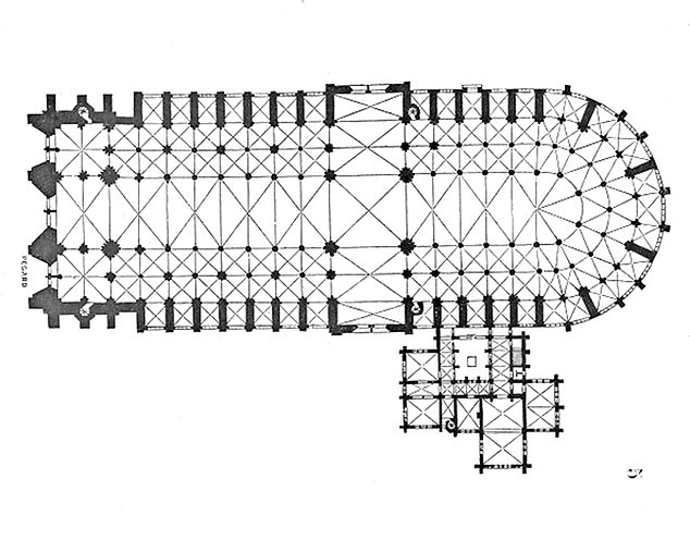 The plan for the Cathedral, made by Eugène Viollet-le-Duc, is pictured. The nave sits to the left, choir in the center, and apse and ambulatory to the right.Construction Notre-Dame began around the year 1160 CE and lasted until about 1245, when the main body was completed