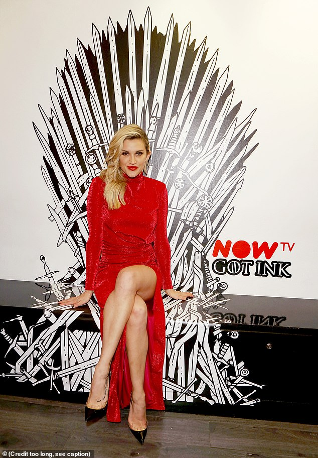Gorgeous: Ashley posed on a bench painted to look like a throne from the TV show