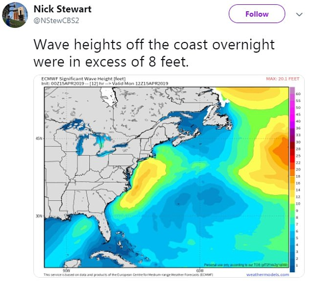As the center core was being towed back to the Florida coast, it was knocked over by rough seas. There were 'eight to ten foot swells' in the Atlantic, as the above map shows