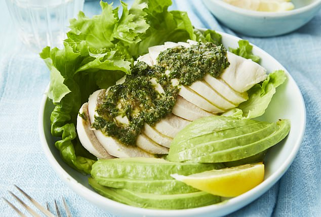 Poached chicken with salsa verde