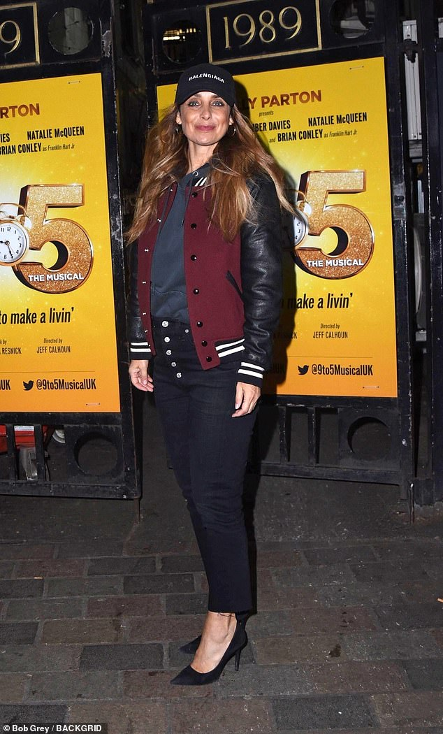 All smiles: She currently stars in the West End's 9 to 5: The Musical. And Louise Redknapp appeared to be in high spirits after leaving the show, on Monday