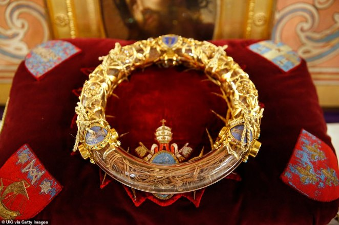 Catholics believe the relic is the 'crown' placed on Jesus' head in mockery as he was crucified