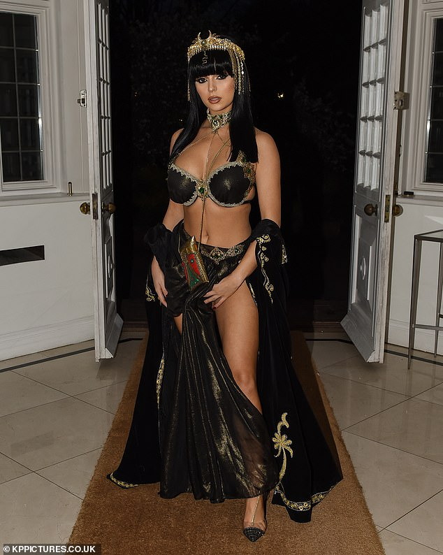 Hot stuff: Demi Rose swapped the shores for a plush Ascot mansion as she rang in her 24th birthday with a bevy of pals and an Egyptian themed birthday bash
