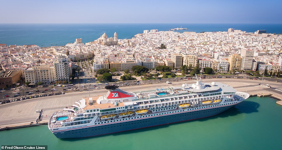 Fred Olsen Cruise Lines' ship Balmoral looms over the ancient port city of Cadiz in the Andalucia region of southwestern Spain. The city is the home of the Spanish navy and it boomed during the 16th-century as a base for exploration and trade