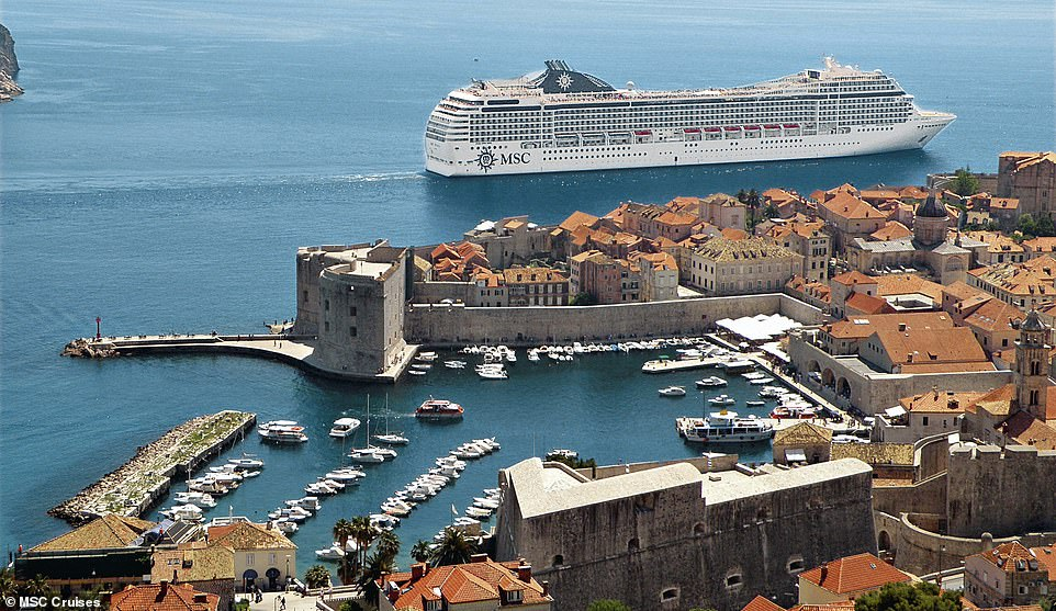 The MSC Musica is an enormous ship, as shown in the image above as it sails past the old city of Dubrovnik in Croatia. The liner has 16 decks in total and it can accommodate3,223 guests at full capacity. Last year, local authorities voiced their concerns that Dubrovnik was becoming overwhelmed by tourists, a problem exacerbated by its use for filming in Game Of Thrones.On a typical day there are about eight cruise ships visiting the town of 2,500 people