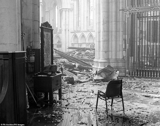 Eerie: inside the fire-damaged York Minster, where more than £2.25million worth of damage was caused by the blaze 35 years ago