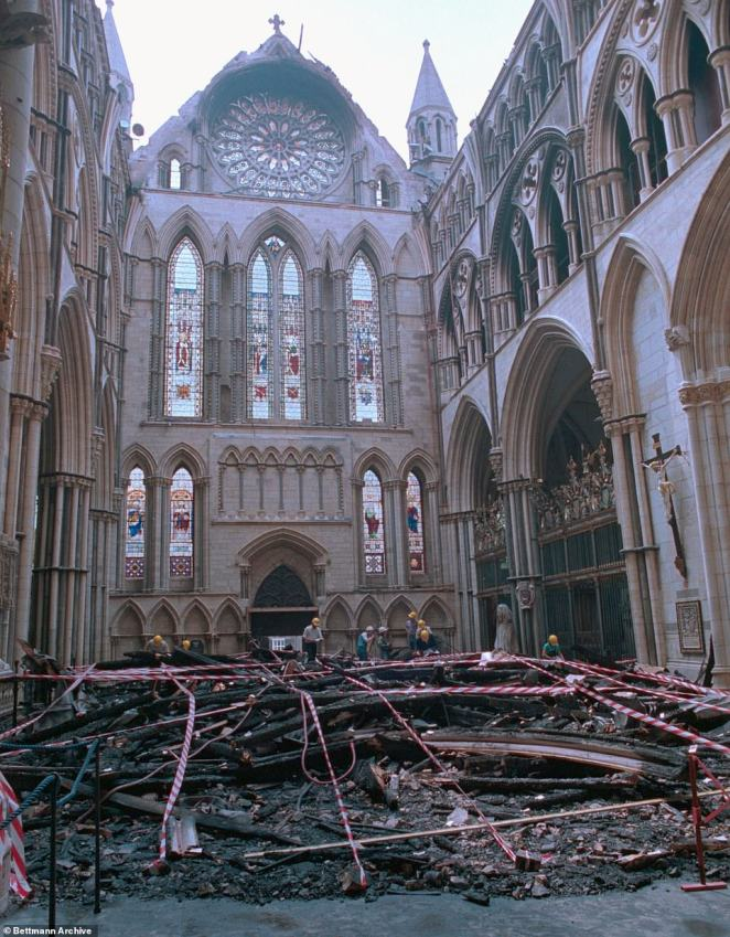 Chaos of rubble and debris inside the 13th century south transept of York Minster after its roof caved in following the blaze in 1984