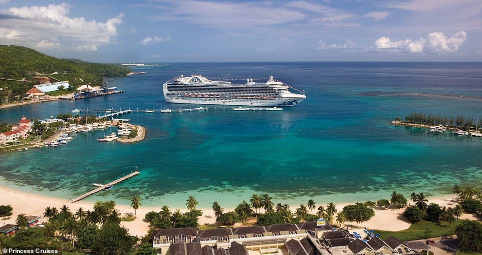 The Crown Princess, which can hold 3,080 guests and 1,200 crew, seen moored at the port town of Ocho Rios on the north coast of Jamaica. Along with glistening blue waters, the port has two piers for cruise ships and it is within walking distance of the town