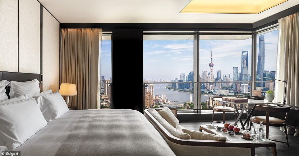 One of the 82 rooms at the Bulgari Hotel in Shanghai, which stands at over 42 storeys high