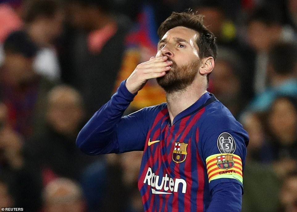 Messi blows a kiss to the stands at the Nou Camp after superbly breaking the deadlock with a brilliant solo effort