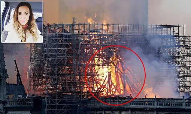 Image result for Social media is awash with people saying they can see Jesus in the flames of Notre Dame after mother 'spots it in photograph'