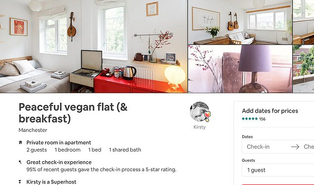 The advert for the vegan flat in Manchester (pictured), posted by 'Kirsty', states that the kitchen is only for rustling upvegetarian and vegan meals