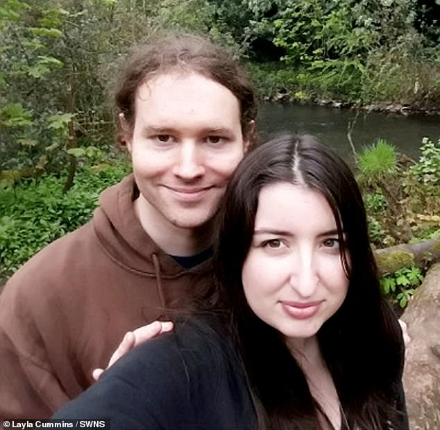 Ms Cummins, pictured with her partner Jon Everett, 35, had started to look bloated and feel uncomfortable around Christmas in 2018 and was sent for an ultrasound in January