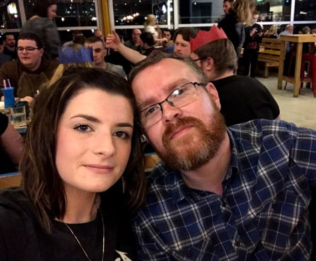 Mrs Hutchinson said her varicose veins were 'making her life a misery' and her husband, Adam, struggled to see her in pain. Pictured, the couple together