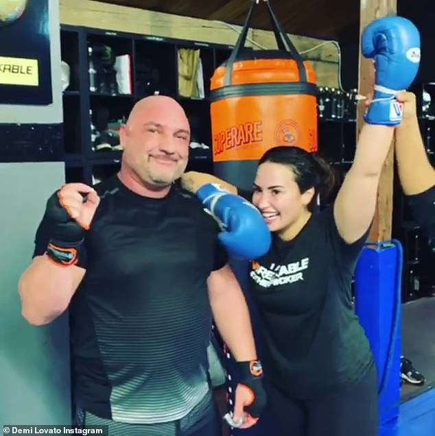 Gloves up: The singer has been focusing on her health and fitness in recent months and loves to work out at the UnbreakablePerformance Center in LA