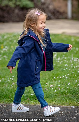 But the confident youngster can now move independently like any other toddler