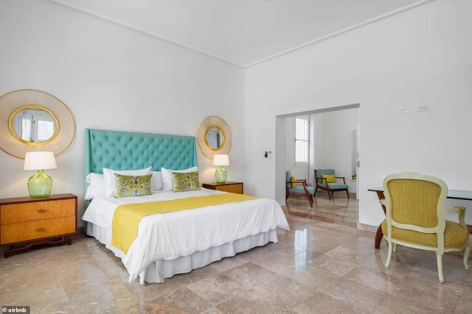 The mansion has four bedrooms and five sleeping beds. Each room has its own air conditioner