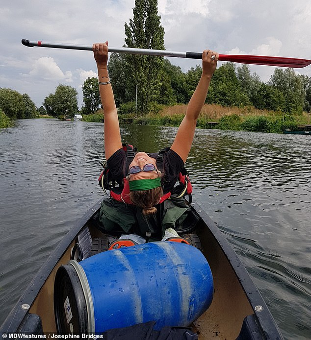 Pictured canoeing before having her leg removed, Mrs Bridges now said she wants to become a Paralympic athlete in the sport, saying: 'There are so many opportunities out there waiting for you as an amputee'