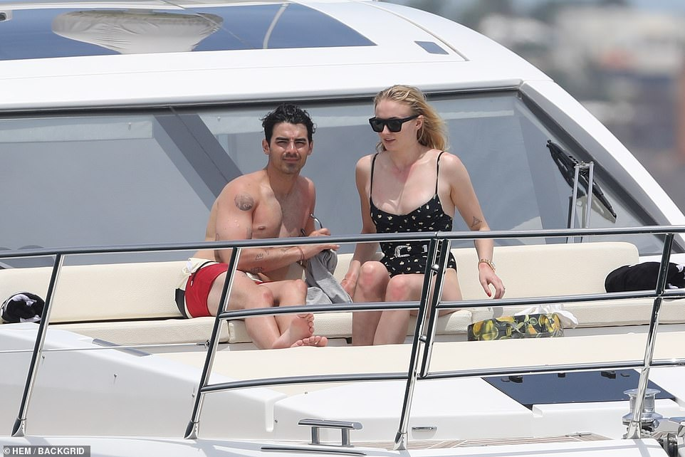 Superstar couple: The Sucker hitmaker and the Sansa Stark beauty were the epitome of true love as they relaxed aboard the yacht