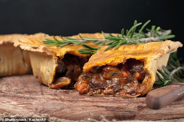 Cooked meats, including processed pies, should be eaten within their use-by date as they can cause serious food poisoning